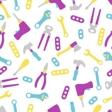 Vector seamless pattern with kid toys Toy tools Hammer, wrench, screwdriver, detail, drill, ax, adjustable wrench Primary school elementary grade kindergarten Happy childhood activity Design for print