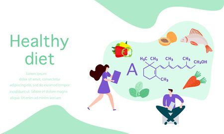 Vector illustration with people, healthy foods rich in vitamins. Healthy lifestyle, proper nutrition,  diet concept. Vitamin A sources. Design for app, websites, print, presentation, landing page. Foto de archivo - 134440015