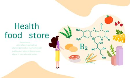 Vector illustration with people, healthy foods rich in vitamins. Healthy lifestyle, proper nutrition,  diet concept. Vitamin B2 sources. Design for app, websites, print, presentation, landing page. Ilustração
