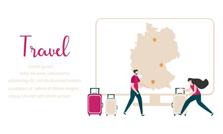Vector illustration People traveling on vacation, explore route using device. Travel inscription, computer, navigation app with map and location pin, suitcases Design for web page, presentation, print