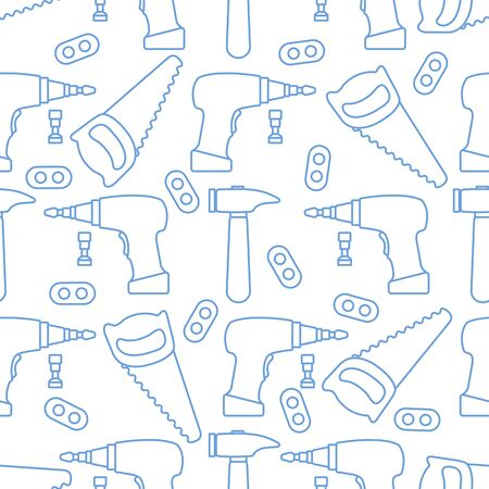 Vector seamless pattern with kid toys. Toy tools Saw, hammer, cordless screwdriver, detail. Primary school, elementary grade, kindergarten Happy childhood activity. Design for textile, wrapping, print