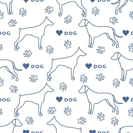 Vector seamless pattern with dogs of different breeds, dog tracks, heart. Animal background. Pet shop, dog show, veterinary clinic concept. Design for textile, wrapping, print.