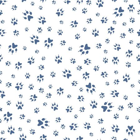 Vector seamless pattern with dog paw tracks. Animal background. Pet footprints backdrop. Design for textile, wrapping, print.
