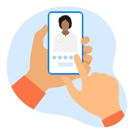 Online doctor vector illustration concept. Hand of patient using online medicine services by smartphone. Rating. Medical support supervision monitoring. Healthcare. Design for website, app, print