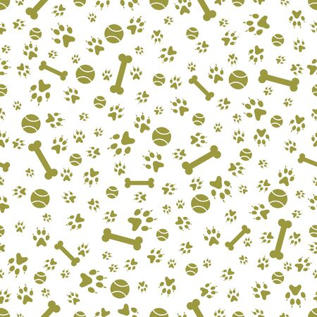Vector seamless pattern with dog paw tracks, bone, tennis ball. Animal background. Pet footprints backdrop. Design for textile, wrapping, print.