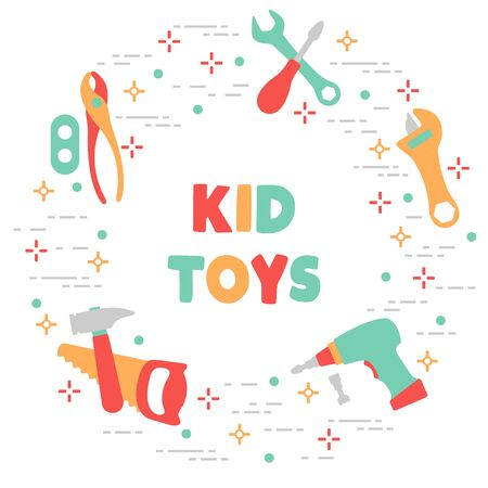 Vector illustration with kid toys. Toy tools. Saw, hammer, screwdrivers, wrenches, pliers. Primary school, elementary grade, kindergarten. Happy childhood activity. Design for textile, website, print 向量圖像