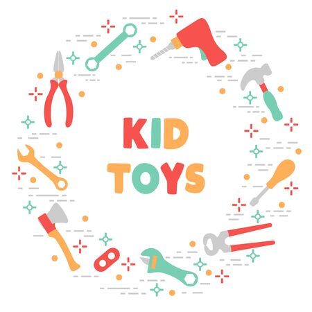 Vector illustration with kid toys Toy tools Drill, ax, hammer, screwdriver, wrenches, pliers. Primary school, elementary grade, kindergarten Happy childhood activity Design for textile, website, print 向量圖像