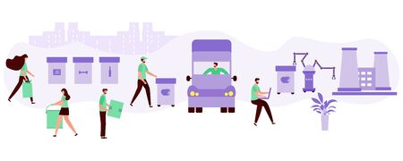 Vector illustration Separate collection, transportation, sorting, recycling of waste by people, robot. Garbage sorting management concept. Eco friendly green city. Flat style Design for website, print Vecteurs