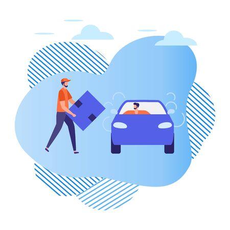 Ilustración vectorial La gente usa el servicio de taxi, servicios de carga, conductor en automóvil y hombre con caja sobre fondo blanco Transporte urbano móvil Negocio de taxi Conductor profesional Diseño para sitios web, impresión
