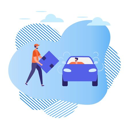 Vector illustration People use taxi service, freight services, driver in car and man with box on white background Mobile city transportation Cab business Professional driver Design for websites, print