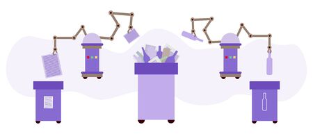 Vector illustration Automated robot sorting garbage on white background Waste sorting management artificial intelligence concept Recycling Eco friendly green city Flat style Design for website, print