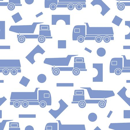 Vector seamless pattern with kid toys. Dump truck, cubes, blocks for construction. Primary school, elementary grade, kindergarten. Happy childhood activity. Design for textile, wrapping, print.