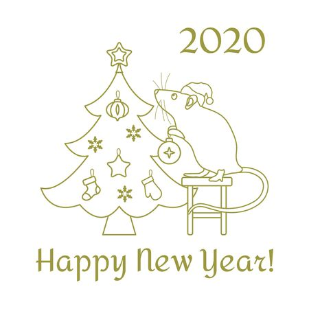 Happy new year 2020, Merry Christmas. Vector illustration Mouse standing on stool decorates Christmas tree on white background. Design for postcard, banner, poster or print. Stock Vector - 134818924