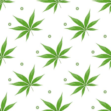 Vector seamless pattern with cannabis leaf Medical marijuana herb Cbd thc cosmetics using. Cannabinoid extract Healthy cannabis hemp natural products. Legal marijuana. Weed. Design for wrapping, print Illustration