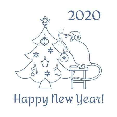 Happy new year 2020, Merry Christmas. Vector illustration Mouse standing on stool decorates Christmas tree on white background. Design for postcard, banner, poster or print. Stock Vector - 134901813