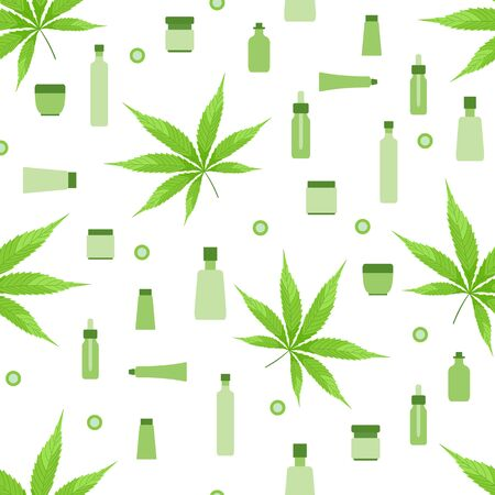 Vector seamless pattern Cannabis leaf, Cbd thc cosmetics with hemp cannabinoid extract on white background. Using medical marijuana herb concept. Healthy cannabis hemp natural products. Legal Weed