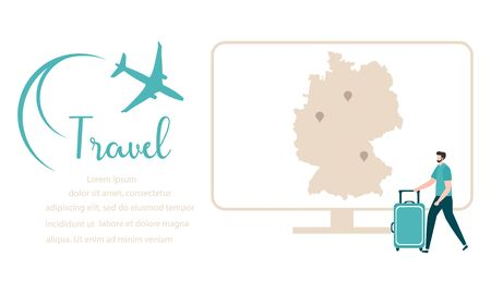 Vector illustration People traveling on vacation, explore route using device. Travel inscription, computer, navigation app, map, location pin, suitcases, plane Design for web page, presentation, print 向量圖像