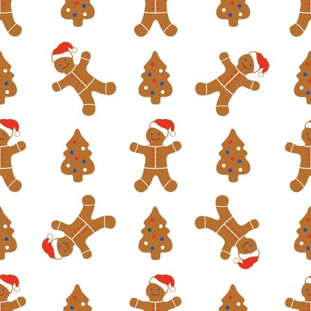 Happy New Year 2020, Christmas seamless pattern. Vector illustration with fun cartoon gingerbread man. Christmas cookies. Winter holiday, cooking, food background. Design for wrapping, fabric, print