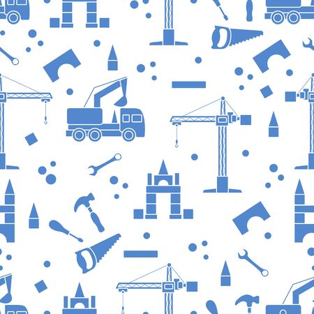 Vector seamless pattern with kid toys. Excavator, crane, toy tools, saw, hammer, wrench, screwdriver. Primary school, elementary grade, kindergarten. Happy childhood activity Design for textile, print