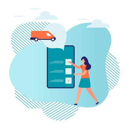 Vector illustration with people ordering taxi service in the application on phone on white background. Mobile city transportation. Professional in driving car. Cab business. Design for websites, print Stock Illustratie