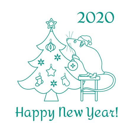 Happy new year 2020, Merry Christmas. Vector illustration Mouse standing on stool decorates Christmas tree on white background. Design for postcard, banner, poster or print.