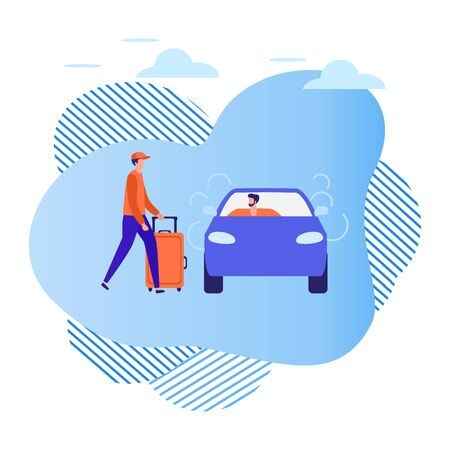 Vector illustration People use taxi service, family trip, person drives people, hitchhiking on white background. Mobile city transportation. Cab business Professional driver Design for websites, print Stock Illustratie