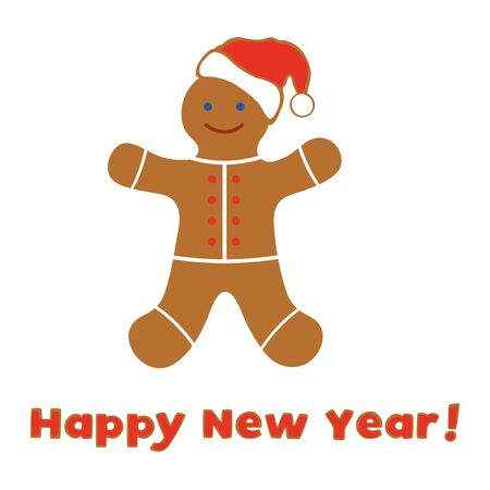 Happy New Year 2020, Merry Christmas vector illustration with fun cartoon gingerbread man on white background. Christmas cookies Winter holiday, cooking, food background Design for card, fabric, print