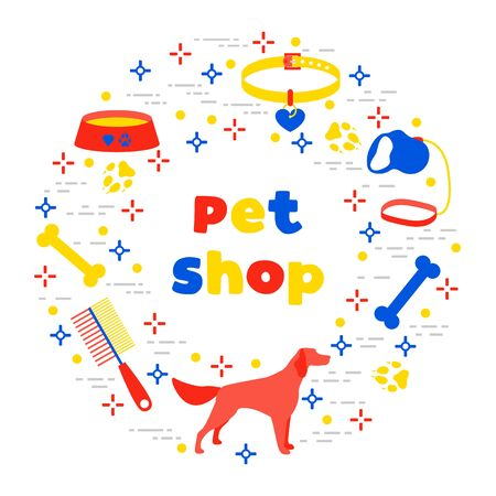 Vector illustration Dog, paw tracks, bone, bowl, collar, leash on white background. Pet shop, veterinary clinic, shelter concept. Animal background. Pet care accessory. Design for website, print Illustration