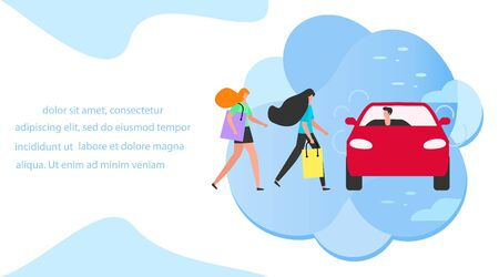 Vector illustration People use taxi service, family shopping, person drives people on white background. Mobile city transportation. Cab business. Professional driver. Design for websites, print Ilustración de vector