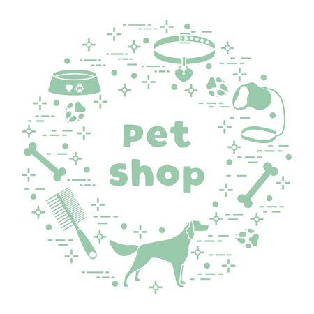 Vector illustration Dog, paw tracks, bone, bowl, collar, leash on white background. Pet shop, veterinary clinic, shelter concept. Animal background. Pet care accessory. Design for website, print Ilustracja