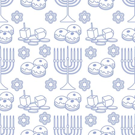 Happy Hanukkah. Jewish holiday Vector seamless pattern with traditional Chanukah symbols Menorah candles, donuts, dreidel spinning top, coins, cookies. Festive design for textile, wrapping, print