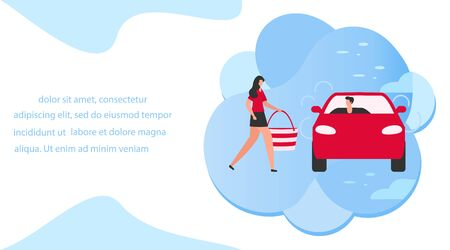 Ilustración vectorial La gente usa el servicio de taxi, viaje familiar, persona conduce a la gente, haciendo autostop sobre fondo blanco. Transporte urbano móvil. Cab business Diseño de conductor profesional para sitios web, impresión Ilustración de vector