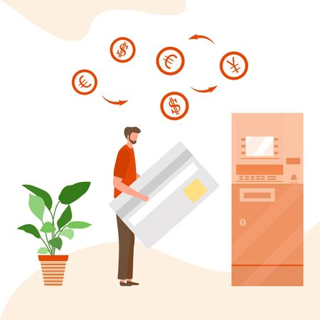 Vector illustration Man with bank card near ATM. Cash withdrawal, currency exchange at automated teller machine. Financial transactions using ATM. Electronic technology. Design for web page, print