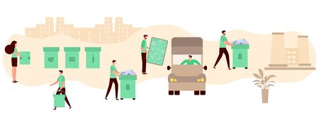 Vector illustration Separate collection, transportation, sorting, recycling of waste by people. Garbage sorting management concept. Eco friendly green city. Flat style Design for website, print