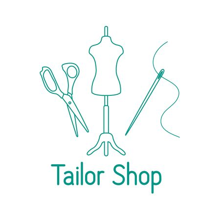 Vector illustration Mannequin, scissors, needle, thread on white background Dressmaking tools, accessories for sewing Tailor shop Atelier tailoring Sewing workshop equipment. Design for print, website