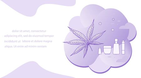 Vector illustration Cannabis leaf, Cbd thc cosmetics with hemp cannabinoid extract on white background. Using medical marijuana herb concept. Healthy cannabis hemp natural products. Legal Weed
