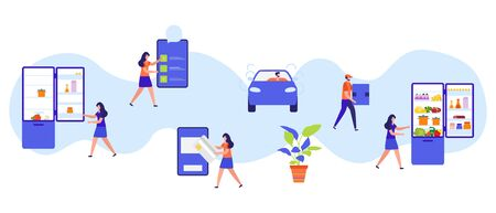 Vector illustration with people order foods, drinks in the application on phone, pay, delivery by the car on white background Fast and convenient shipping Free delivery Design for app, websites, print Vettoriali
