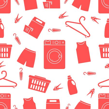 Vector seamless pattern Washing machine, laundry basket, laundry detergents, hanger, clothespins, clothes. Washing clothes. Domestic household chores, laundromat tasks Laundry service Design for print Illustration