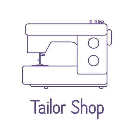 Vector illustration Sewing machine on white background Dressmaking tools. Tailor shop Atelier tailoring. Sewing workshop equipment. Design for print, website Векторная Иллюстрация