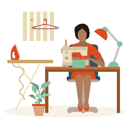 Vector illustration on white background Woman seamstress works on sewing machine Tailor. Atelier tailoring Sewing workshop equipment. Fashion designer sew. Dressmaking tools. Design for print, website