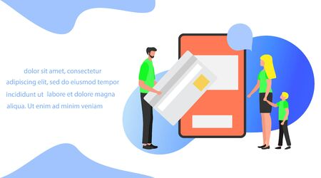 Vector illustration Bank card, People performs banking transactions using a smartphone. Financial transactions, money transfer. Electronic, digital technology.Design for landing page, print, website