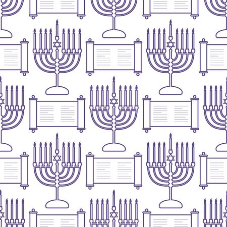 Happy Hanukkah. Jewish holiday Vector seamless pattern with traditional Chanukah symbols Menorah candles, Torah scroll on the white background. Festive design for textile, wrapping, print