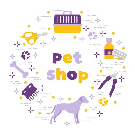 Vector illustration Dog, paw tracks, bone, comb, scissors, carrying, medicine, clipper on white background. Pet shop, veterinary clinic, shelter background Pet care accessory Design for website, print