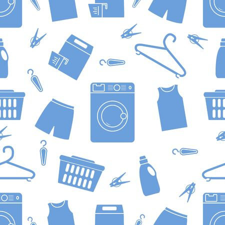 Vector seamless pattern Washing machine, laundry basket, laundry detergents, hanger, clothespins, clothes. Washing clothes. Domestic household chores, laundromat tasks Laundry service Design for print Vectores