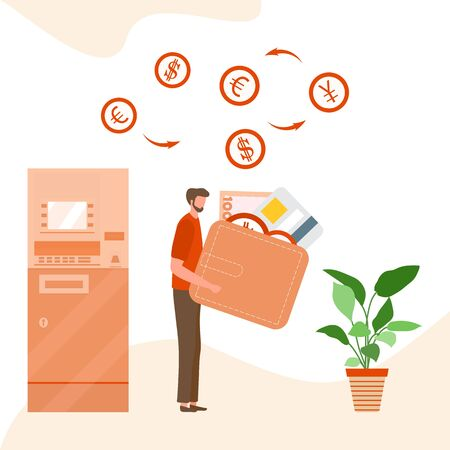 Vector illustration People with wallet, bank card, money bill near ATM. Cash withdrawal, currency exchange at automated teller machine. Financial transactions. Design for landing page, website, print