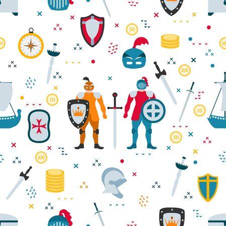 Vector seamless pattern Knight, sword, shield, helmet, treasure chest, ship. Kid toys illustration. Primary school, elementary grade. Happy childhood background. Activity. Design for textile, print