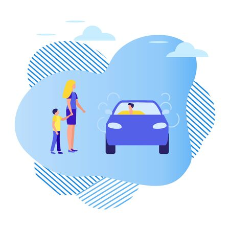 Vector illustration People use taxi service, family trip, person drives people, hitchhiking on white background. Mobile city transportation. Cab business Professional driver Design for websites, print Ilustración de vector