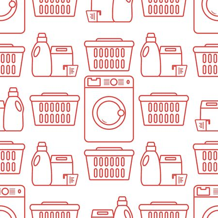 Vector seamless pattern Washing machine, laundry basket, washing powder, liquid. Washing clothes concept. Domestic household chores, laundromat tasks Laundry service Design for wrapping, fabric, print
