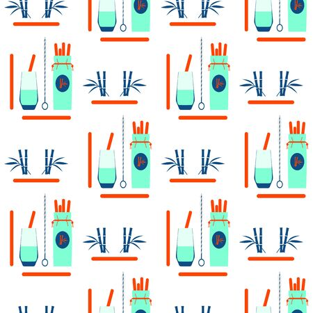 Vector seamless pattern Illustration with Reusable cocktail straws, brush for cleaning, fabric case, glass. Waste management concept. Choosing eco friendly lifestyle, using reusable products