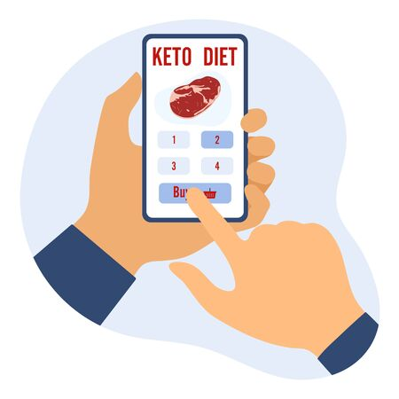 Vector illustration Hands holding phone, choice, purchase keto diet foods. Healthy lifestyle, proper nutrition. Fats, proteins, low carbs ketogenic diet food. Design for app, websites, print  イラスト・ベクター素材